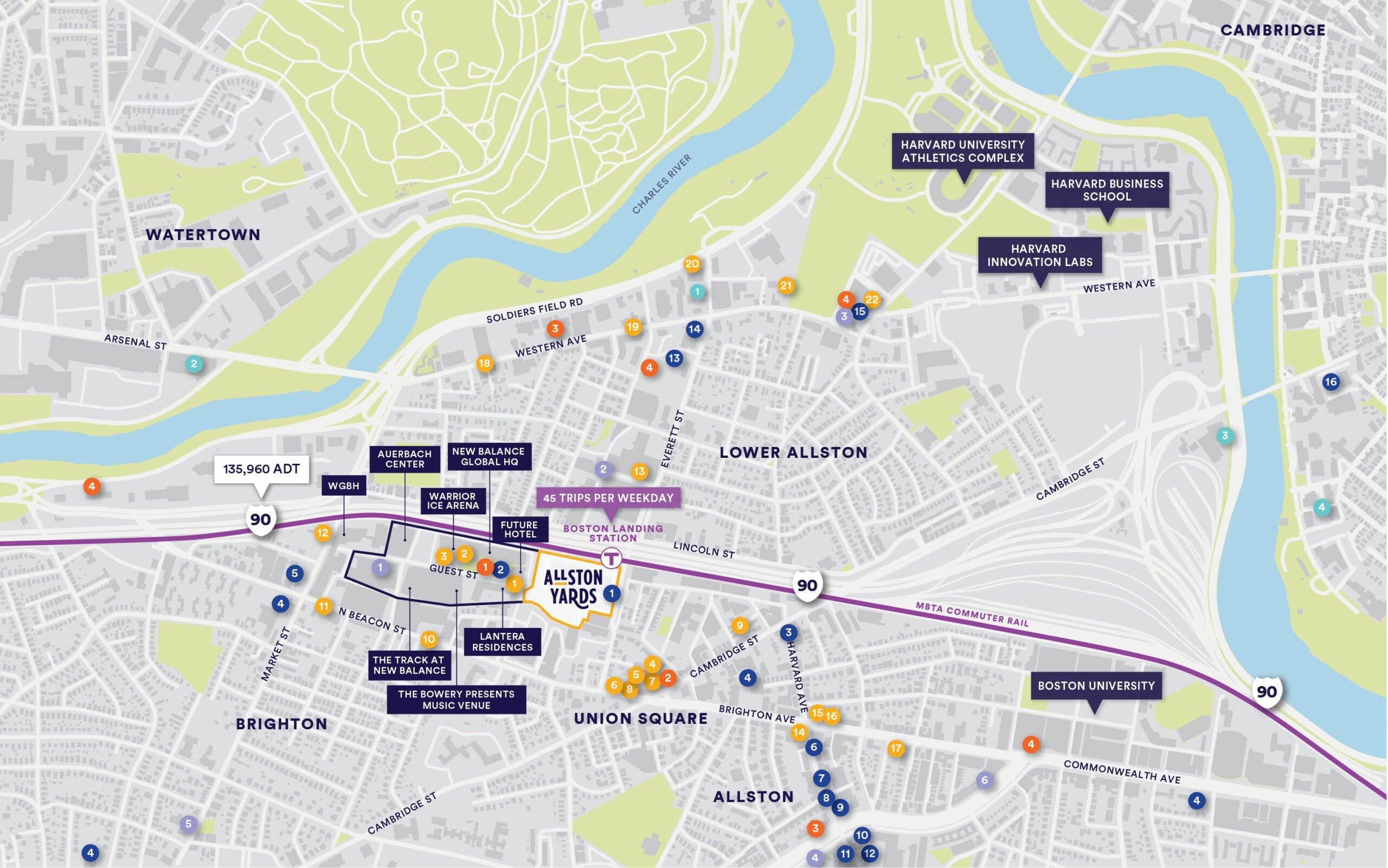Allston Yards Locator Map - Area Amenities